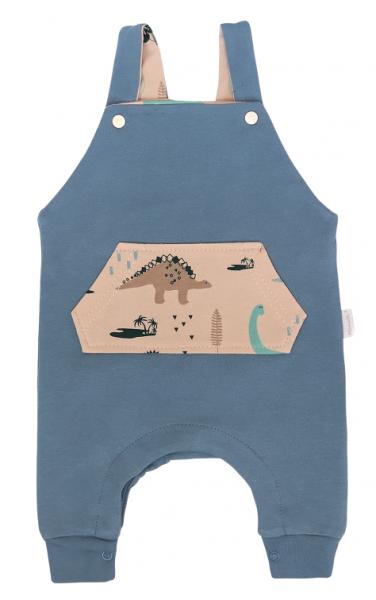 Mamatti Detské laclové tepláčky Dinosaurus, modré, veľ. 74