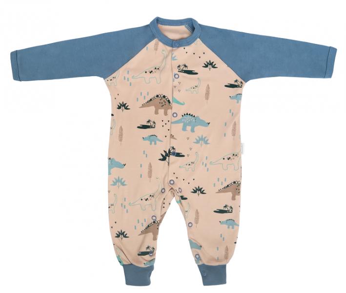 Mamatti Dojčenský bavlnený overal bez šlapiek Dinosaurus, krémový s potlačou, veľ. 74