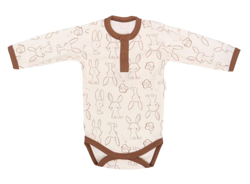 Mamatti Bavlnené body polo dlouhý rukáv, Zajačik - krémové s potlačou, veľ. 80-#Velikost koj. oblečení;80 (9-12m)