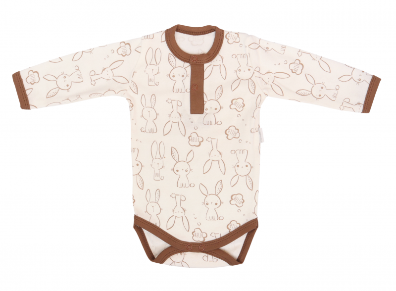 Mamatti Bavlnené body polo dlouhý rukáv, Zajačik - krémové s potlačou, veľ. 86-#Velikost koj. oblečení;86 (12-18m)