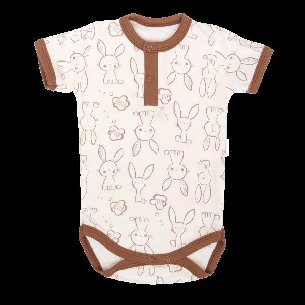 Mamatti Bavlnené body polo krátký rukáv, Zajačik - krémové s potlačou
