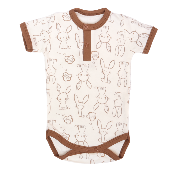 Mamatti Bavlnené body polo krátký rukáv, Zajačik - krémové s potlačou-#Velikost koj. oblečení;68 (4-6m)