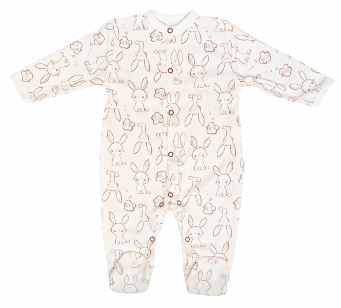 Mamatti Dojčenský bavlnený overal Zajačik - krémový s potlačou