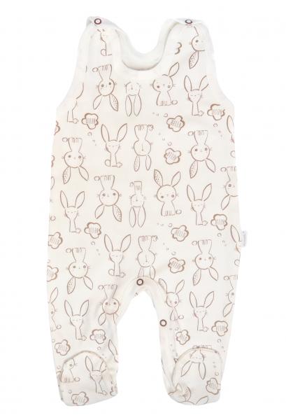 Mamatti Dojčenské dupačky Zajačik - krémové s potlačou-#Velikost koj. oblečení;50 (0-1m)