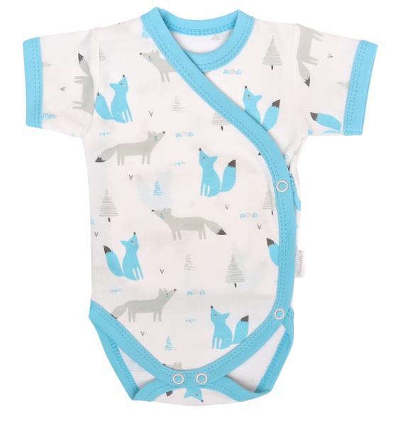 Dojčenské body krátky rukáv, zapínanie bokom, Liška - biele so vzorom, veľ 56