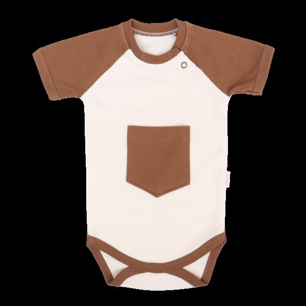 Mamatti Dojčenské body Kr. rukáv, Králíček - krémová, hnedá-#Velikost koj. oblečení;68 (4-6m)