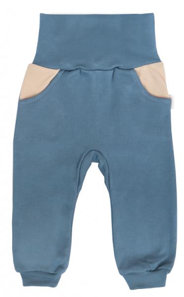 Mamatti Dojčenské tepláčky s pružným pasom a kapsami Dinosaurus, modré, veľ. 86-#Velikost koj. oblečení;86 (12-18m)