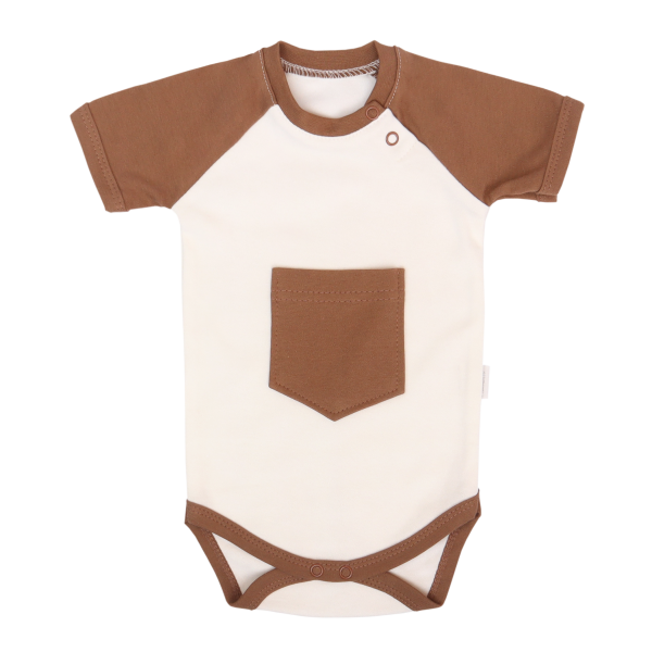 Mamatti Dojčenské body Kr. rukáv, Králíček - krémová, hnedá, veľ. 80-#Velikost koj. oblečení;80 (9-12m)