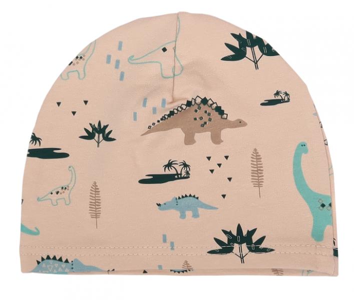 Mamatti Bavlnená čiapočka Dinosaurus, krémová s potlačou-#Velikost koj. oblečení;0-1rok