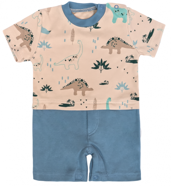 Mamatti Body s nohavičkami Dinosaurus, krémová -modrá-#Velikost koj. oblečení;68 (4-6m)