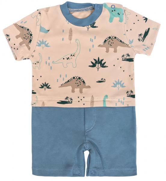 Mamatti Body s nohavičkami Dinosaurus, krémová -modrá, veľ. 74-#Velikost koj. oblečení;74 (6-9m)