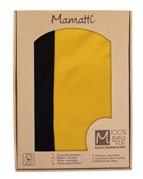 Mamatti Detská oboust. bavl. deka, 80 x 90 cm, v dar. krabičke, Mýval - čierna, horčicová