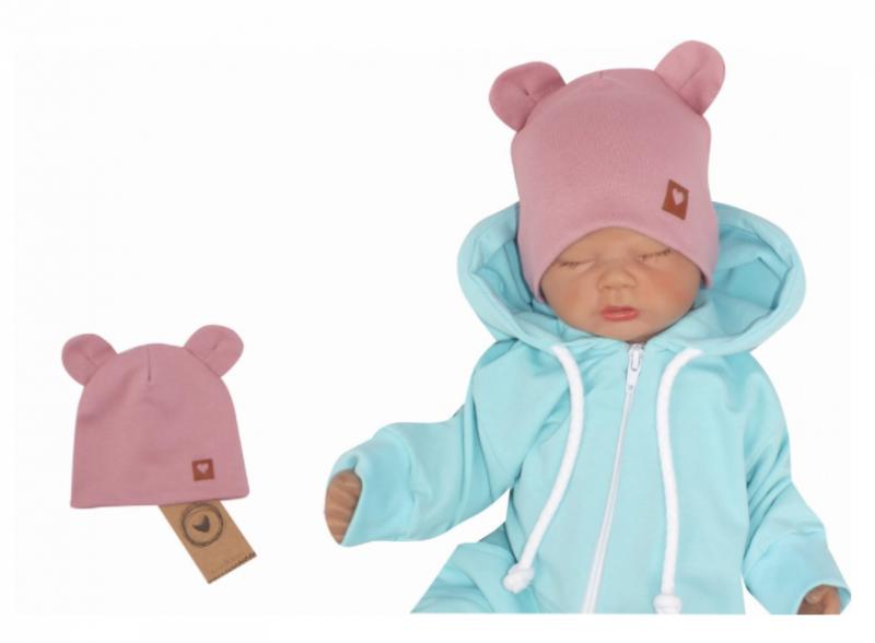 Z & Z Dvojvrstvová bavlnená čiapočka LOVE TEDDY, lila