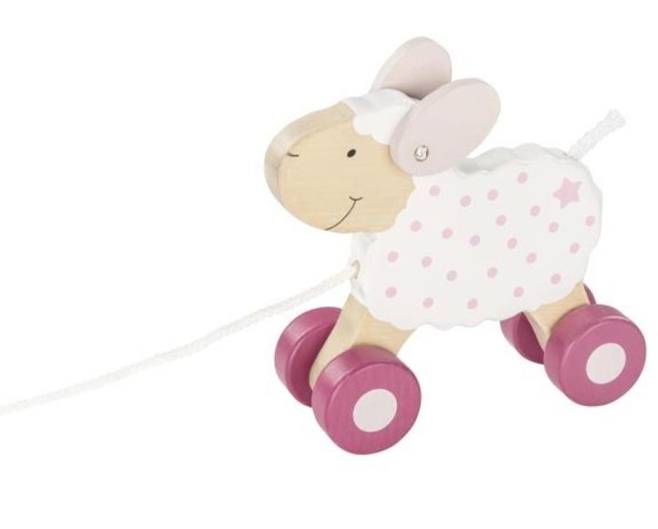 Goki Edukačná drevená hračka, 17 cm ťahacie - Oviečka Berry
