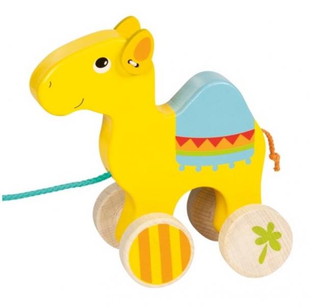 Goki Edukačná drevená hračka, 17 cm ťahacie - Dromedár