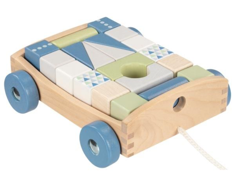 Goki Edukačná drevená hračka ťahacie Autíčko s kockami na šnúrke, 17 x 15 x 63 cm, modré
