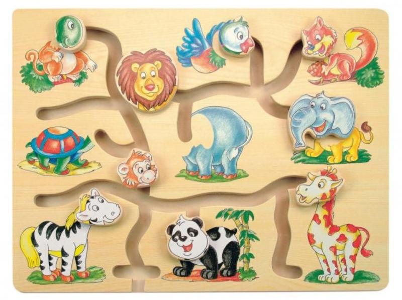 Woody Drevený posúvacie labyrint - Fantastická zvieratka ZOO