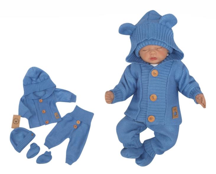 Z&Z 4-dielna kojenecká súpravička, kabátik, tepláčky, čiapočka a topánočky - jeans, veľ.74