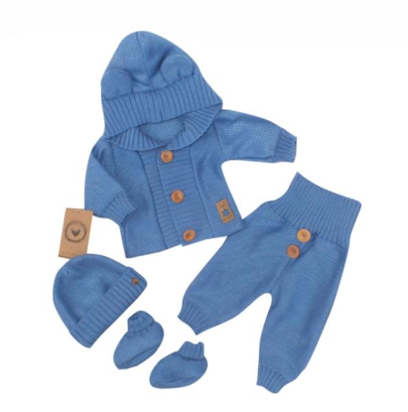Kojenecká súprava 4-dielna , kabátik, tepláčky, čiapočka a topánočky - jeans, veľ.74