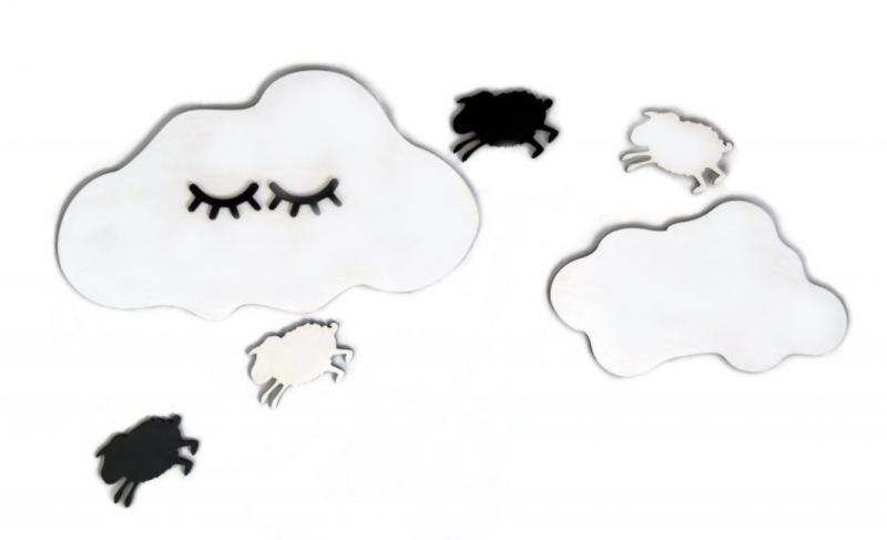 Adam Toys Dekorácie na stenu - Spiaci mráčik s ovečkama, bielo/čierne