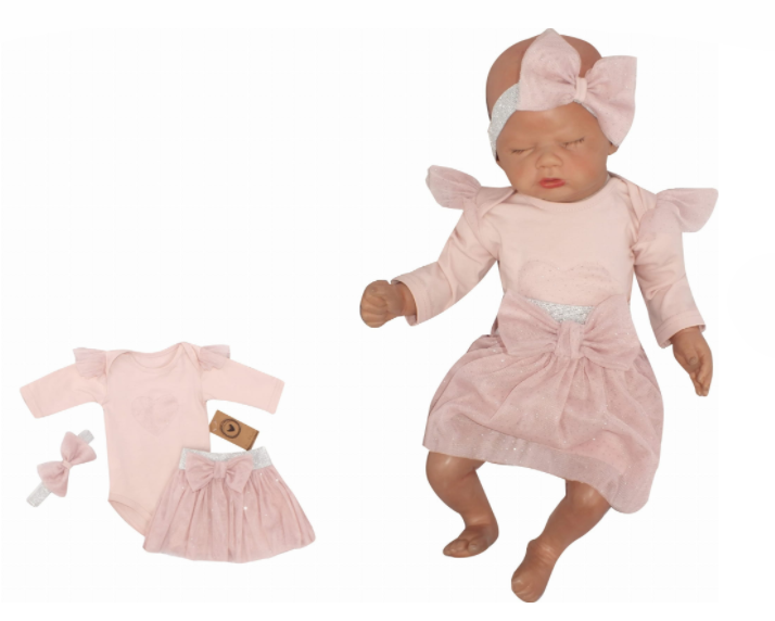 Z&Z 3-dielna súpravička body, tylová suknička a čelenka, ružová, vel. 62-#Velikost koj. oblečení;62 (2-3m)