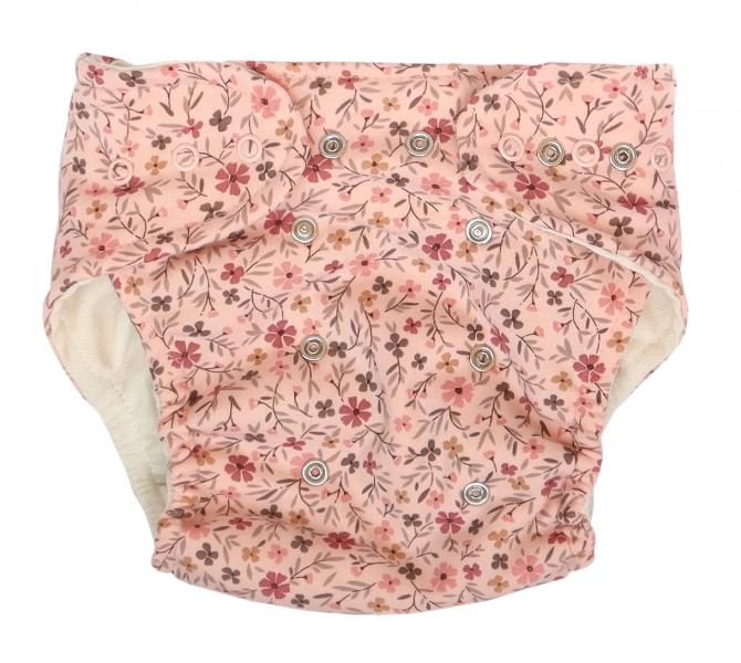 Mamatti Látková plienka EKO sada - nohavičky + 2 x plienka, Kvetinka, veľ. 3 - 8 kg růžová