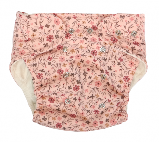 Mamatti Látková plienka EKO sada - nohavičky + 2 x plienka, Kvetinka, veľ. 5-14 kg růžová