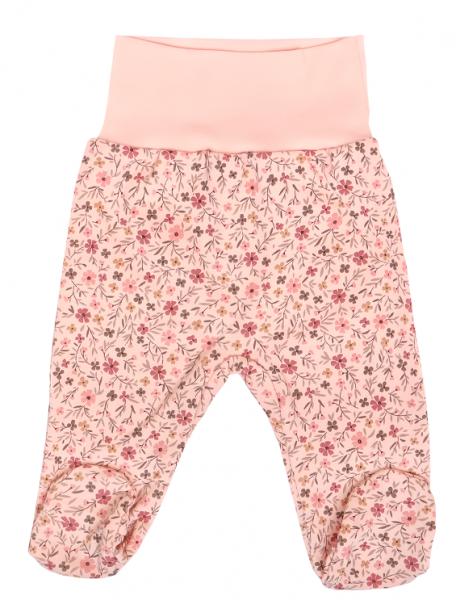 Mamatti Dojčenské polodupačky Kvetinka s pružným pasom, pudrové so vzorem-#Velikost koj. oblečení;50 (0-1m)