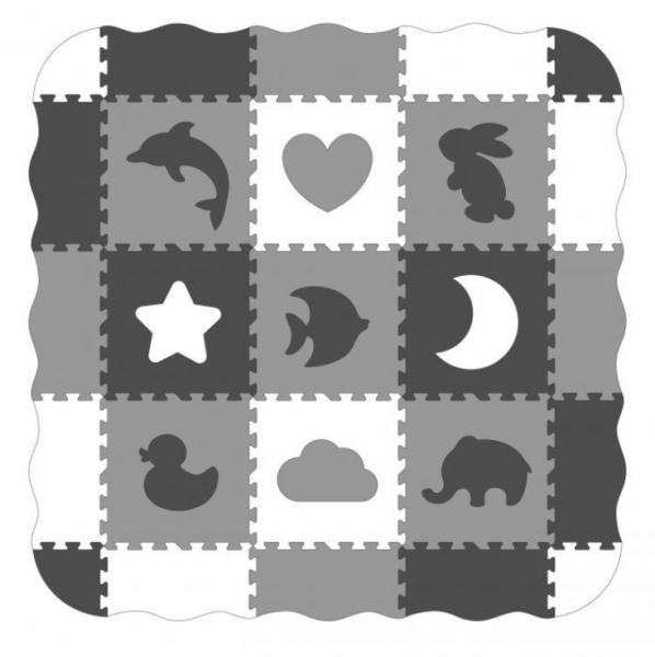 ECO TOYSDetské penové puzzle 122x122cm, hracia deka, podložka na zem Zvieratká, 25 dielov