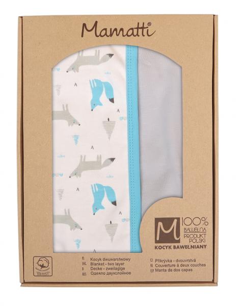 Mamatti Detská obojstranná bavlnená deka, 80 x 90 cm, Liška, biela vzorovaná