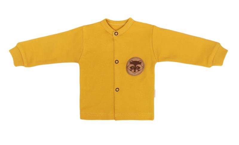 Mamatti Novozenecká bavlnená košieľka, kabátik, Mýval - horčicová-#Velikost koj. oblečení;50 (0-1m)
