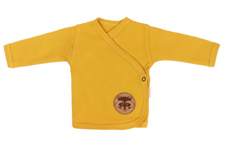 Mamatti Novorodenecká bavlnená košieľka zapínanie bokom, Mýval - horčicová-#Velikost koj. oblečení;50 (0-1m)