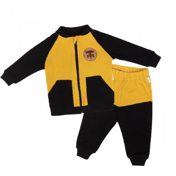 Mamatti Detská tepláková súprava zapínanie na zip, Mýval - horčicová, čierna, veľ. 80-#Velikost koj. oblečení;80 (9-12m)