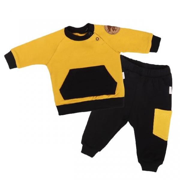 Mamatti Detská tepláková súprava zapínanie na boku, Mýval - horčicová, čierna, vel. 74-#Velikost koj. oblečení;74 (6-9m)