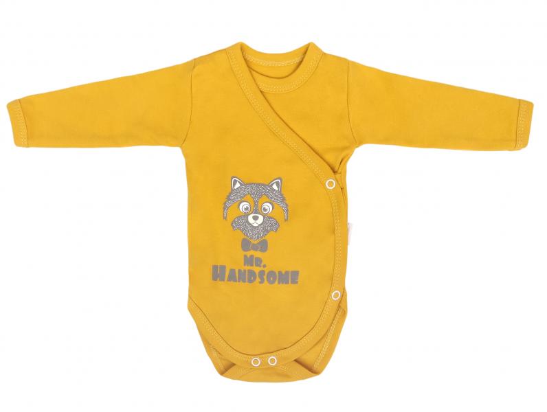 Mamatti Dojčenské body dlhý rukáv, zapínanie bokom, Mýval - horčicové-#Velikost koj. oblečení;50 (0-1m)