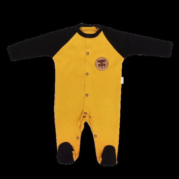 Mamatti Dojčenský bavlnený overal Mýval - horčicová, čierna, veľ. 62-#Velikost koj. oblečení;62 (2-3m)