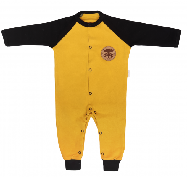 Mamatti Detský bavlnený overal bez šlapiek Mýval - horčicova, čierna, veľ. 86-#Velikost koj. oblečení;86 (12-18m)