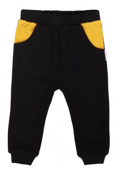 Mamatti Detské tepláčky s vreckami, Mýval - horčicová, čierna, veľ. 92-#Velikost koj. oblečení;92 (18-24m)