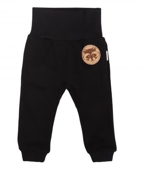 Mamatti Dojčenské tepláčky s pružným pásom Mýval - čierne, veľ. 74-#Velikost koj. oblečení;74 (6-9m)