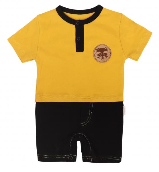Mamatti Body s nohavičkami Mýval - horčicová, čierna, veľ. 80-#Velikost koj. oblečení;80 (9-12m)