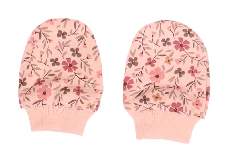 Mamatti Dojčenské rukavičky Kvetinky - ružové s potlačou