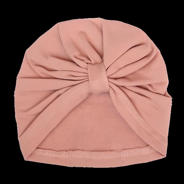 Mamatti Bavlnená detská čiapka - turban, Kvetinka - pudrová