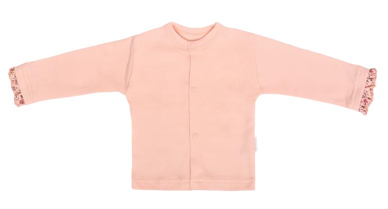 Mamatti Novozenecká bavlnená košieľka, kabátik, Kvetinka - pudrová-#Velikost koj. oblečení;50 (0-1m)
