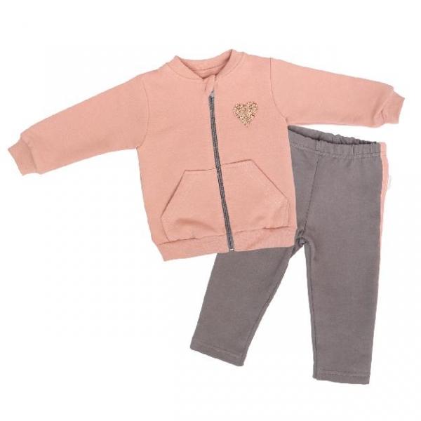 Mamatti Detská tepláková súprava zapínanie na zip Kvetinka, pudrová/sivá, vel. 74-#Velikost koj. oblečení;74 (6-9m)
