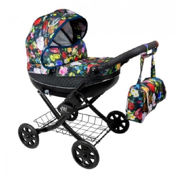 NESTOR Detský kočík pre bábiky Viki Rose, čierna konštrukcia - farebné kvety