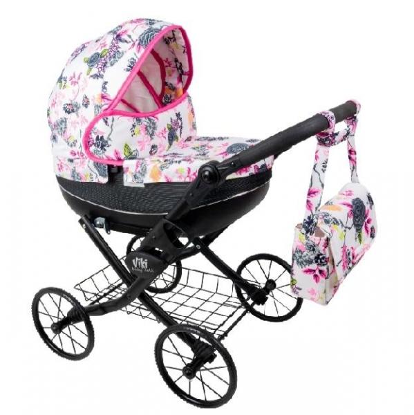 NESTOR Detský kočík pre bábiky Viki Rose, čierna konštrukcia - bielo, ružový