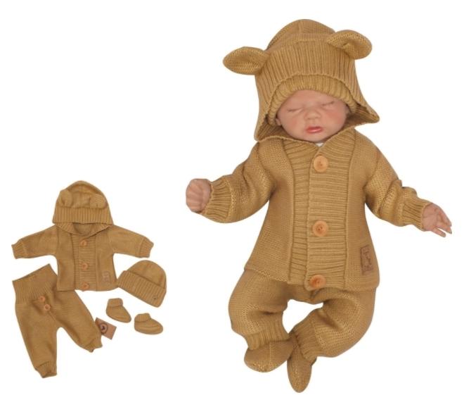 Z & Z 4-dielna kojenecká súpravička, kabátik, tepláčky, čiapočka a topánočky - medová