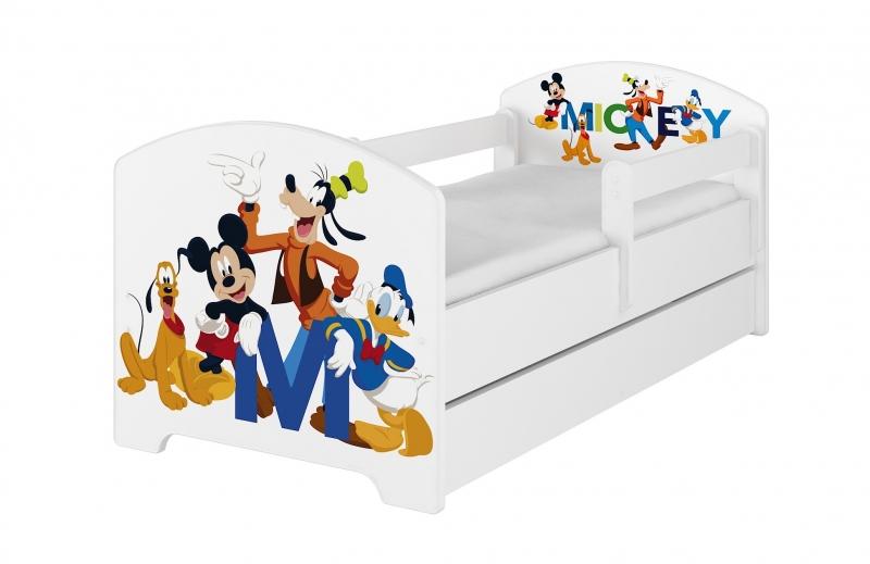 BabyBoo Detská postel Disney - Mickey s kamarátmi - biela, s matracom + šuplík, 160x80
