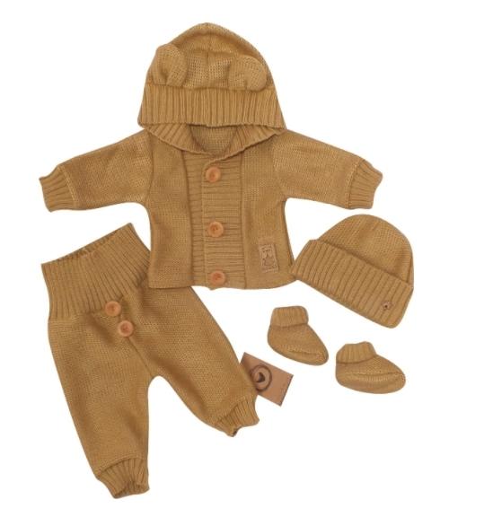 Kojenecká súprava 4-dielna , kabátik, tepláčky,čiapočka a topánočky-medová, veľ.68