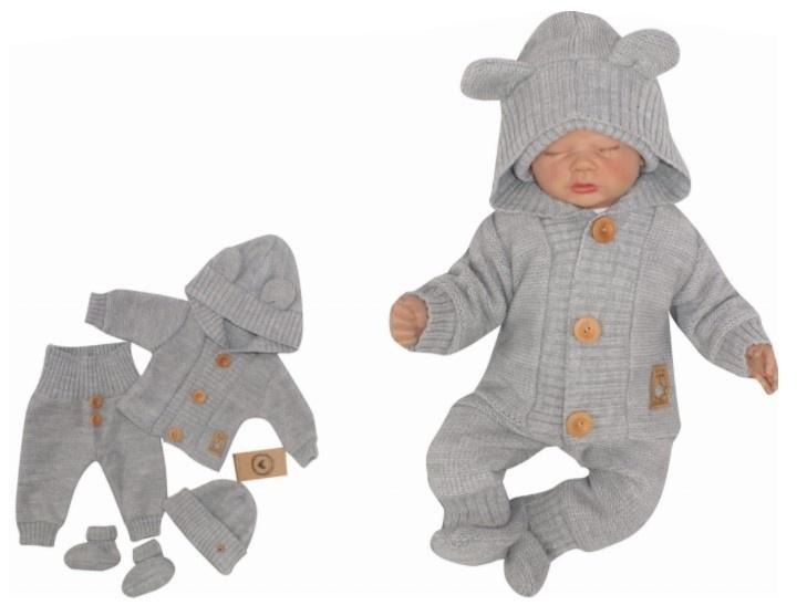 Z & Z 4-dielna kojenecká súpravička, kabátik, tepláčky, čiapočka a topánočky -sivá,veľ. 62-#Velikost koj. oblečení;62 (2-3m)